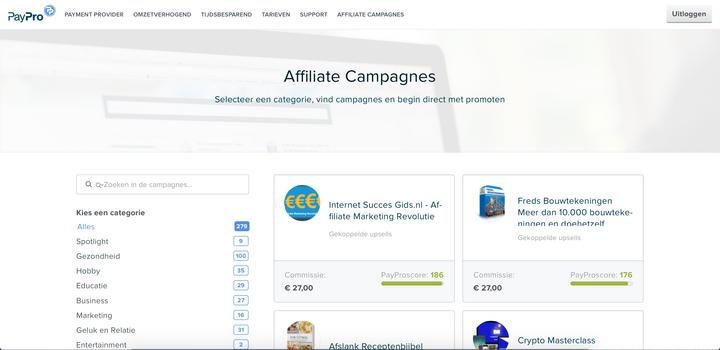 PayPro als affiliate netwerk.