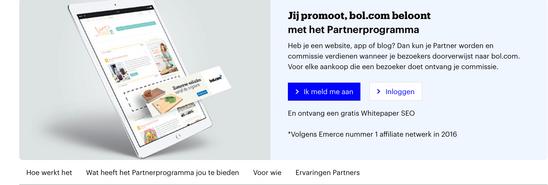 Aanmelden Bol.com affiliate partnerprogramma.