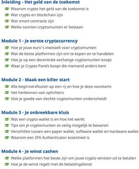 Wat leer je in de crypto masterclass.